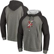 Louisville Cardinals Fanatics Branded College Vault Primary Logo Tri-Blend Big & Tall Raglan Pullover Hoodie - Ash