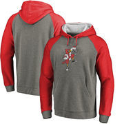 Louisville Cardinals Fanatics Branded College Vault Primary Logo Tri-Blend Big & Tall Raglan Pullover Hoodie - Ash