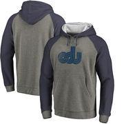 Old Dominion Monarchs Fanatics Branded College Vault Primary Logo Tri-Blend Big & Tall Raglan Pullover Hoodie - Ash