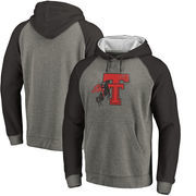 Texas Tech Red Raiders Fanatics Branded College Vault Primary Logo Tri-Blend Big & Tall Raglan Pullover Hoodie - Ash