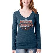 Houston Astros 5th & Ocean by New Era Women's 2017 World Series Champions Long Sleeve T-Shirt - Navy