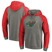 Minnesota Wild Fanatics Branded Big & Tall Team Distressed Pullover Hoodie - Heathered Gray