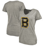 Boston Bruins Fanatics Branded Women's Hometown Collection Tri-Blend V-Neck T-Shirt – Heathered Gray