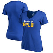 Golden State Warriors Fanatics Branded Women's Plus Sizes Heart of Gold Hometown Collection T-Shirt - Royal