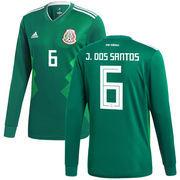 Jonathan dos Santos Mexico National Team adidas 2018 Home Replica Long Sleeve Jersey - Green