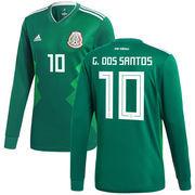 Giovani dos Santos Mexico National Team adidas 2018 Home Replica Long Sleeve Jersey - Green