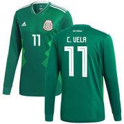 Carlos Vela Mexico National Team adidas 2018 Home Replica Long Sleeve Jersey - Green