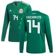 Javier Hernandez Mexico National Team adidas 2018 Home Replica Long Sleeve Jersey - Green
