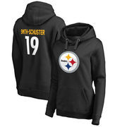JuJu Smith-Schuster Pittsburgh Steelers NFL Pro Line by Fanatics Branded Women's Player Icon Name & Number Pullover Hoodie – Bla
