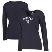 New York Yankees Fanatics Branded Women's Plus Size Cooperstown Collection Wahconah Long Sleeve T-Shirt - Navy