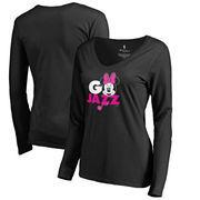 Utah Jazz Fanatics Branded Women's Disney Rally Cry Minnie V-Neck Long Sleeve T-Shirt - Black