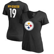 JuJu Smith-Schuster Pittsburgh Steelers NFL Pro Line by Fanatics Branded Women's Player Icon Name & Number V-Neck T-Shirt – Blac