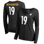 JuJu Smith-Schuster Pittsburgh Steelers NFL Pro Line by Fanatics Branded Women's Authentic Stack Name & Number V-Neck Long Sleev