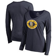 San Diego Padres Fanatics Branded Women's Hometown Collection Keep the Faith Long Sleeve T-Shirt - Navy