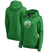 Edmonton Oilers Fanatics Branded Women's St. Patrick's Day White Logo Pullover Hoodie - Kelly Green