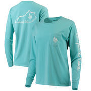 Women's Kentucky Derby 144 Dyed Ring Spun Pocket Long Sleeve T-Shirt - Light Blue
