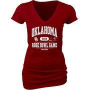 Oklahoma Sooners Blue 84 Women's College Football Playoff 2018 Rose Bowl Bound Affliction V-Neck T-Shirt – Crimson