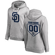 San Diego Padres Fanatics Branded Women's Personalized RBI Pullover Hoodie - Heathered Gray