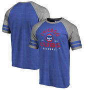 Chicago Cubs Fanatics Branded Vintage Arch Tri-Blend Two Stripe Raglan T-Shirt – Heathered Royal