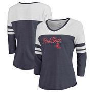 Boston Red Sox Fanatics Branded Women's Rising Script Tri-Blend Raglan V-Neck 3/4-Sleeve T-Shirt – Heathered Navy/White