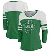 Michigan State Spartans Fanatics Branded Women's Emerald Isle Tri-Blend Raglan 3/4 Sleeve T-Shirt – Heathered Kelly Green/White
