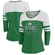 Michigan Wolverines Fanatics Branded Women's Emerald Isle Tri-Blend Raglan 3/4 Sleeve T-Shirt – Heathered Kelly Green/White