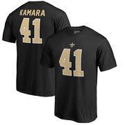 Alvin Kamara New Orleans Saints NFL Pro Line by Fanatics Branded Authentic Stack Name & Number T-Shirt – Black