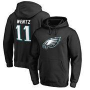 Carson Wentz Philadelphia Eagles NFL Pro Line by Fanatics Branded Player Icon Pullover Hoodie – Black
