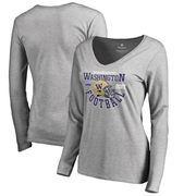 Washington Huskies Fanatics Branded 2017 Fiesta Bowl Bound Down V-Neck Long Sleeve T-Shirt – Heathered Gray