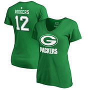 Aaron Rodgers Green Bay Packers NFL Pro Line by Fanatics Branded Women's St. Patrick's Day Icon Name & Number T-Shirt – Kelly Gr