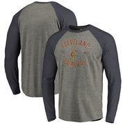 Cleveland Cavaliers Fanatics Branded Heritage Big and Tall Long Sleeve Tri-Blend Raglan T-Shirt - Heathered Gray