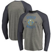 Denver Nuggets Fanatics Branded Heritage Big and Tall Long Sleeve Tri-Blend Raglan T-Shirt - Heathered Gray
