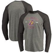 Los Angeles Lakers Fanatics Branded Heritage Big and Tall Long Sleeve Tri-Blend Raglan T-Shirt - Heathered Gray