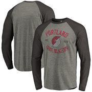 Portland Trail Blazers Fanatics Branded Heritage Big and Tall Long Sleeve Tri-Blend Raglan T-Shirt - Heathered Gray