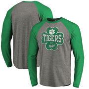 Clemson Tigers Fanatics Branded St. Patrick's Day Emerald Isle Long Sleeve Tri-Blend Raglan T-Shirt - Ash