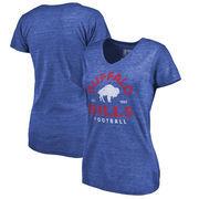 Buffalo Bills NFL Pro Line by Fanatics Branded Women's Timeless Collection Vintage Arch Tri-Blend V-Neck T-Shirt - Royal
