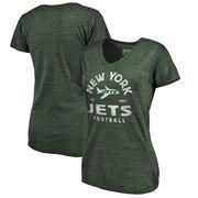 New York Jets NFL Pro Line by Fanatics Branded Women's Timeless Collection Vintage Arch Tri-Blend V-Neck T-Shirt - Green