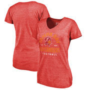 Tampa Bay Buccaneers NFL Pro Line by Fanatics Branded Women's Timeless Collection Vintage Arch Tri-Blend V-Neck T-Shirt - Red
