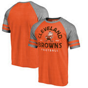 Cleveland Browns NFL Pro Line by Fanatics Branded Timeless Collection Vintage Arch Tri-Blend Raglan T-Shirt - Orange