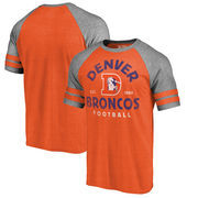 Denver Broncos NFL Pro Line by Fanatics Branded Timeless Collection Vintage Arch Tri-Blend Raglan T-Shirt - Orange