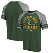 Green Bay Packers NFL Pro Line by Fanatics Branded Timeless Collection Vintage Arch Tri-Blend Raglan T-Shirt - Green