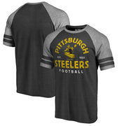 Pittsburgh Steelers NFL Pro Line by Fanatics Branded Timeless Collection Vintage Arch Tri-Blend Raglan T-Shirt - Black