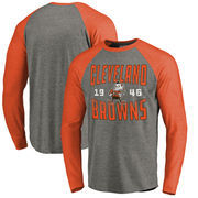 Cleveland Browns NFL Pro Line by Fanatics Branded Timeless Collection Antique Stack Long Sleeve Tri-Blend Raglan T-Shirt - Ash