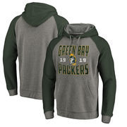 Green Bay Packers NFL Pro Line by Fanatics Branded Timeless Collection Antique Stack Tri-Blend Raglan Pullover Hoodie - Ash