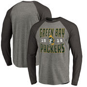 Green Bay Packers NFL Pro Line by Fanatics Branded Timeless Collection Antique Stack Big & Tall Long Sleeve Raglan T-Shirt - Ash