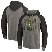 Green Bay Packers NFL Pro Line by Fanatics Branded Timeless Collection Antique Stack Big & Tall Tri-Blend Hoodie - Ash