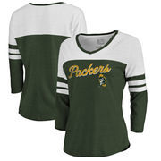 Green Bay Packers NFL Pro Line by Fanatics Branded Women's Timeless Collection Rising Script Color Block 3/4 Sleeve Tri-Blend T-
