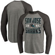 San Jose Sharks Fanatics Branded Timeless Collection Antique Stack Tri-Blend Long Sleeve Raglan T-Shirt - Ash