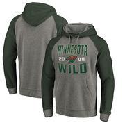 Minnesota Wild Fanatics Branded Timeless Collection Antique Stack Tri-Blend Raglan Pullover Hoodie - Ash