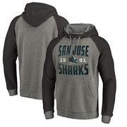 San Jose Sharks Fanatics Branded Timeless Collection Antique Stack Tri-Blend Raglan Pullover Hoodie - Ash